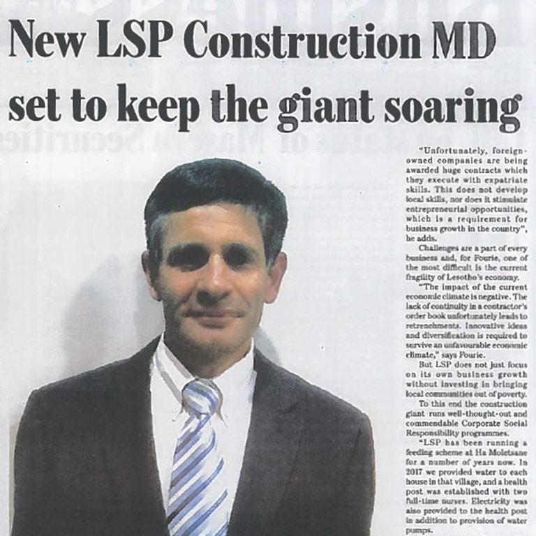 Louis Fourie, new MD at LSP Construction